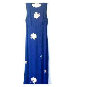 Zara Navy Floral Open Back High Neck Maxi Dress S